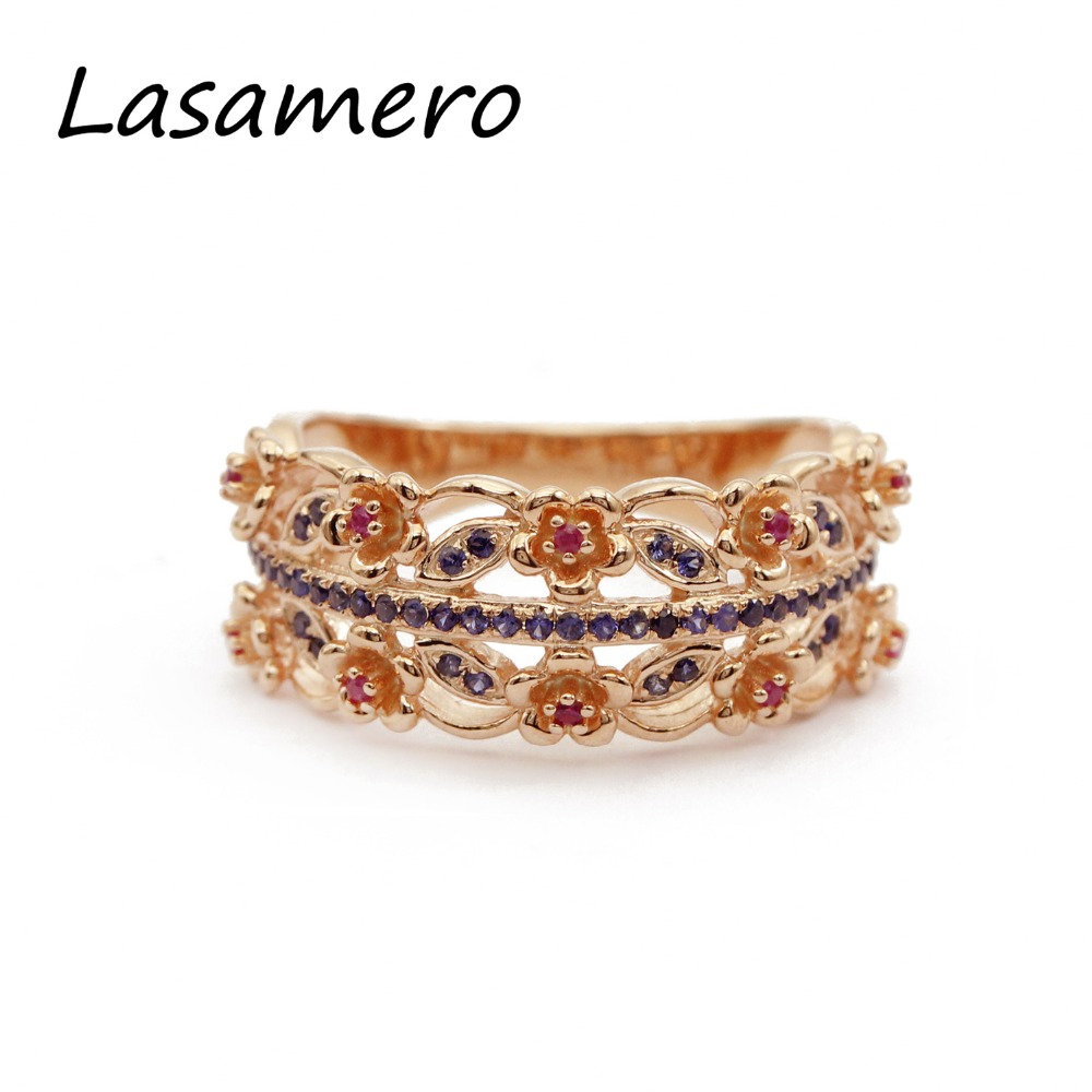 LASAMERO Rings for Women Round Cut Natural Sapphire & Ruby Rings 925 Silver Engagement Wedding Rings Flower in Vintage 6pcs of stylish color glazed round rings for women