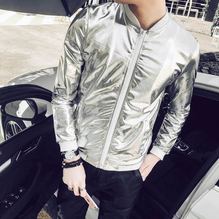 5XL Summer Men Bomber Jacket Fashion 2018 Slim Fit Sun Protection Clothing  Silver Shining Jackets Mens de910ae28