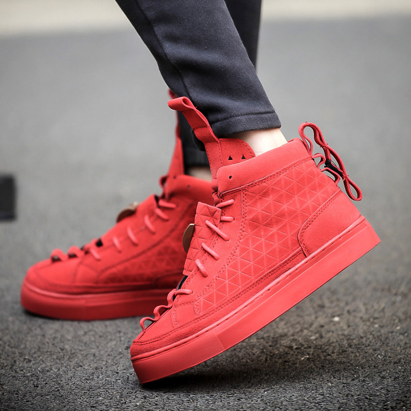 Patrick Mohr Men Couple Flat Triangle Shoes Genuine Leather Nubuck Trend Red Black Casual shoes