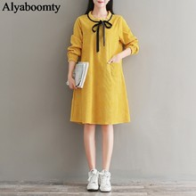 Giapponese Mori Ragazza di Autunno Della Molla del Vestito Delle Donne Più Il Formato Casual Allentato Giallo Tasche Vestido Mujer Carino Velluto A Coste Elegante Bow Dress(China)