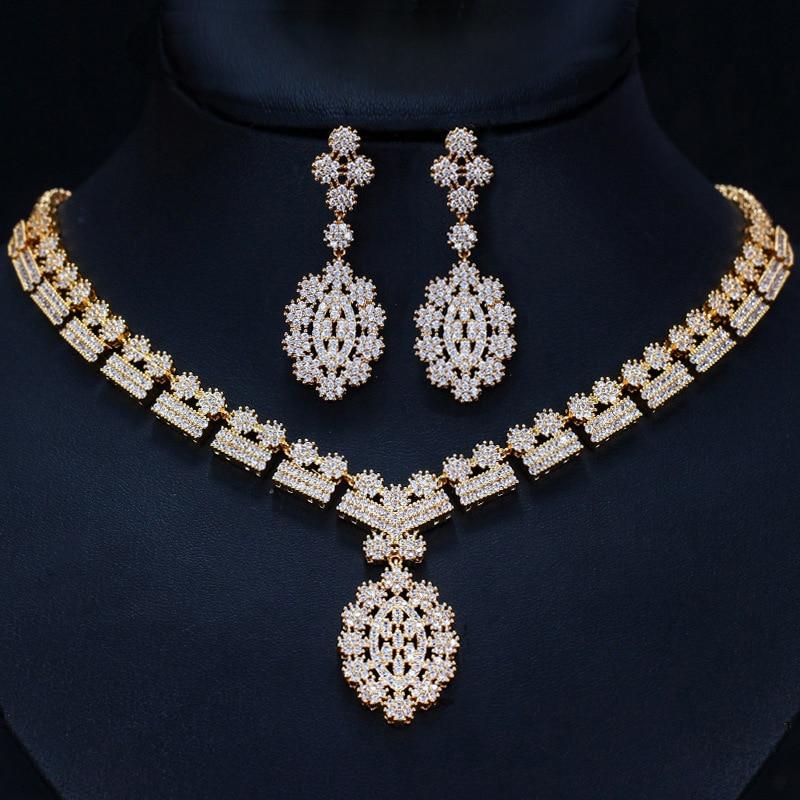 4 Options de Style blanc cristal Zircon or Rose boucles d'oreilles ensemble de bijoux boucle d'oreille collier pendentif M02-T2