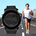Hot! Multifunctional Men Male Outdoor Running Hiking Digital Wrist Watch 6355 Type Fashionable Rubber Strap Watch Easy Match
