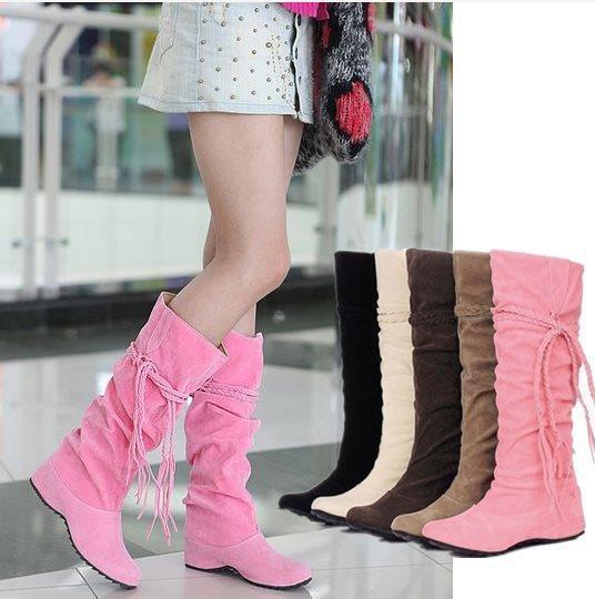 8a0c7fa2958f9 Tamaño grande 34 43 mujeres de nueva moda Sexy hasta la rodilla botas  largas tacón bajo de cuña Winter Women Shoes zapatos sin cordones otoño  botas AA013 en ...