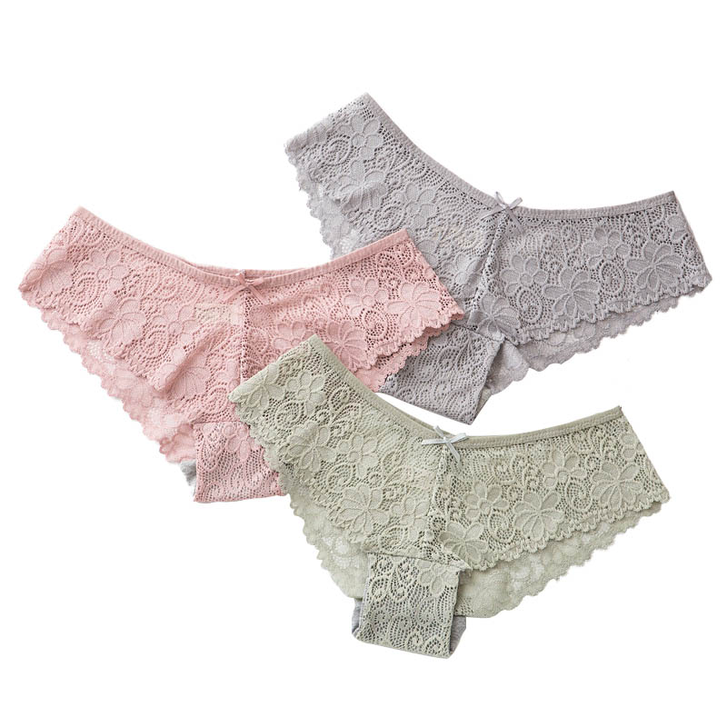 Sexy Lace   Panties   Women Fashion Cozy Lingerie Tempting Pretty Briefs High Quality Cotton Low Waist Cute Women Underwear 3 Pcs