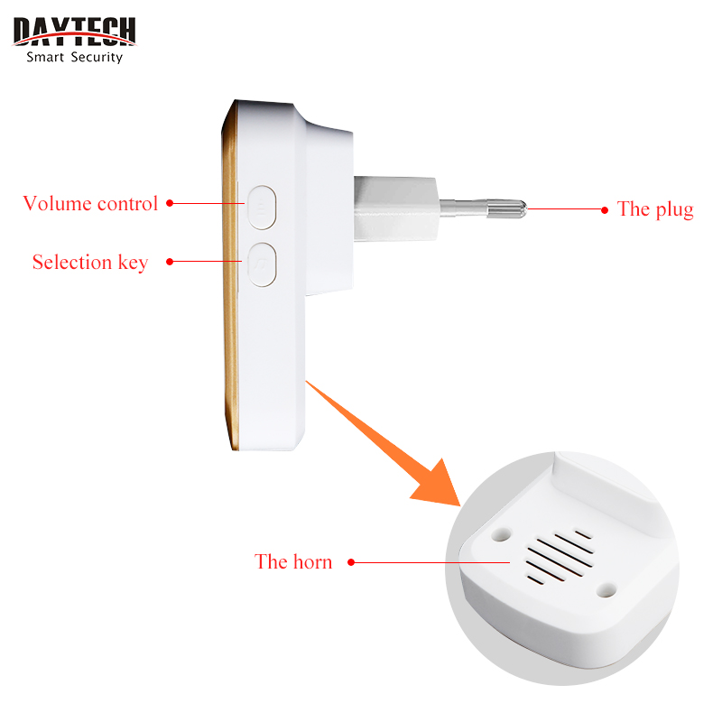Image 4 - DAYTECH Wireless Doorbell Chime Kit Ring Door Bell Home Welcome Alert Waterproof Remote Control Push Button Receiver EU/US/UK-in Doorbell from Security & Protection