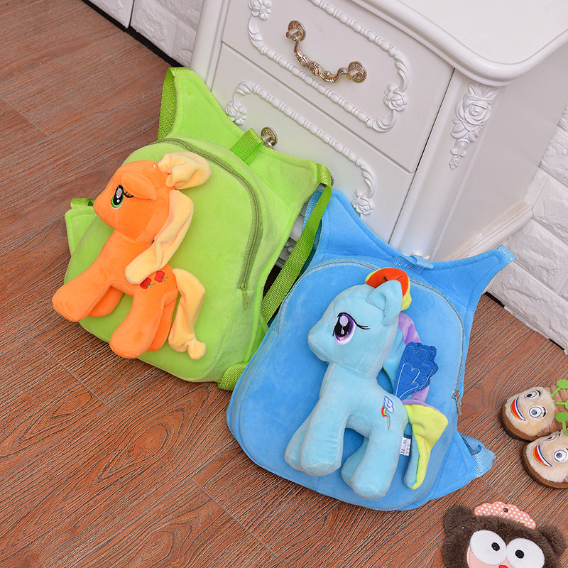 Cute Soft Cartoon Kindergarten Children Plush Backpack Pony Plush Toy  Preschool Baby Bag Gift for Kids 1-5 Years Old 1pc