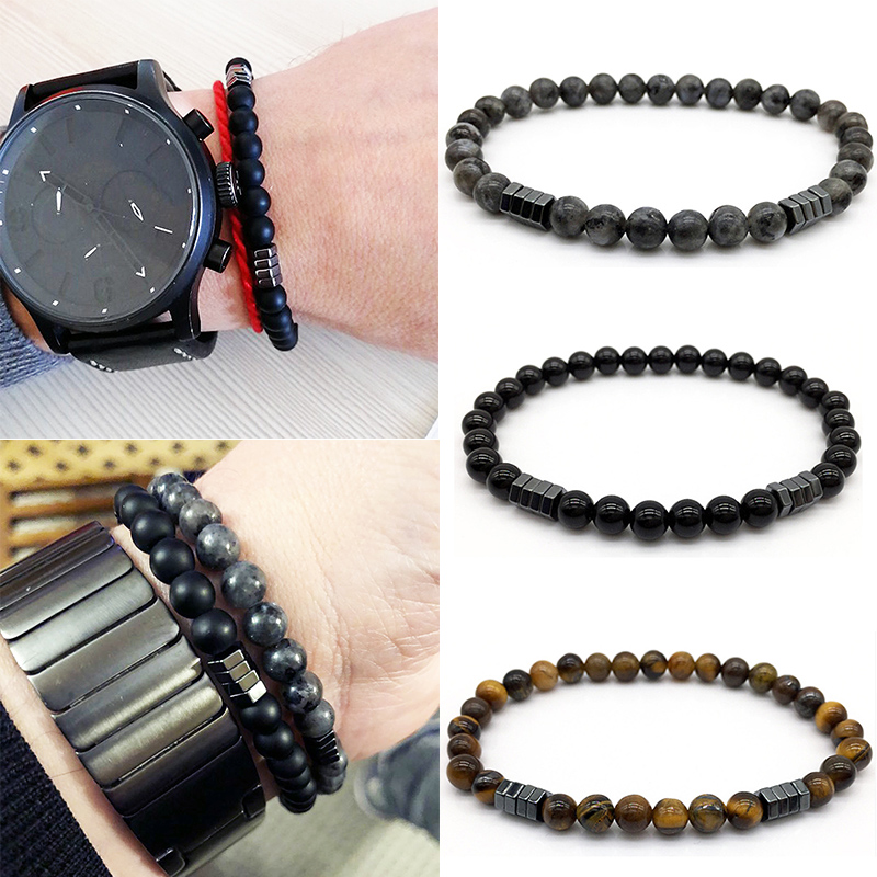 Allergy Free Adjustable Column Hematite 6mm Matte Bead 2018 Fashion Arrival Elasticity Stone Bead Charm Bracelet Men Jewelry 1PC