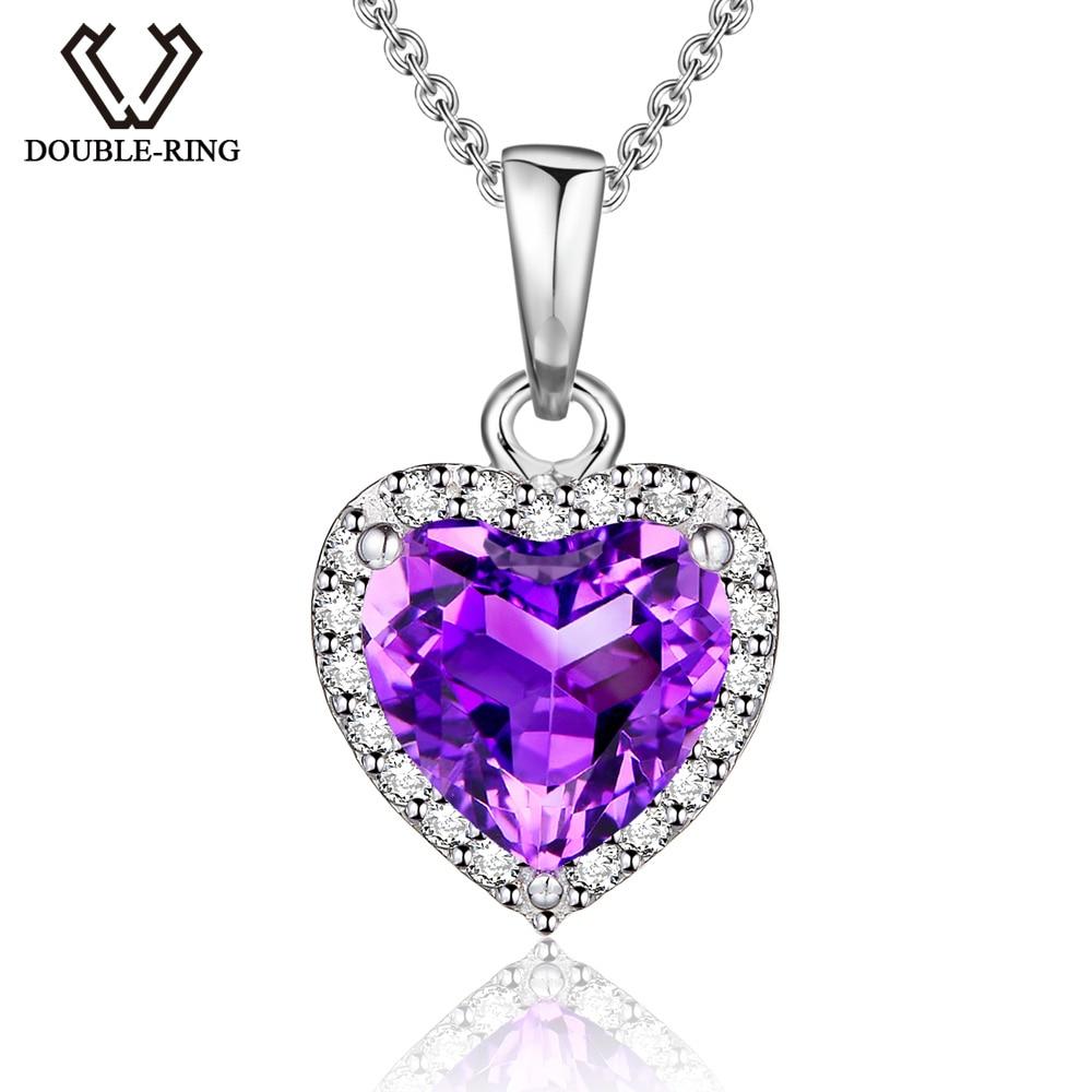 DOUBLE-R Natural Amethyst Heart Pendant 925 sterling silver smycken Halsband & Hängsmycken Ädelsten fint bröllop Smycken för kvinnor