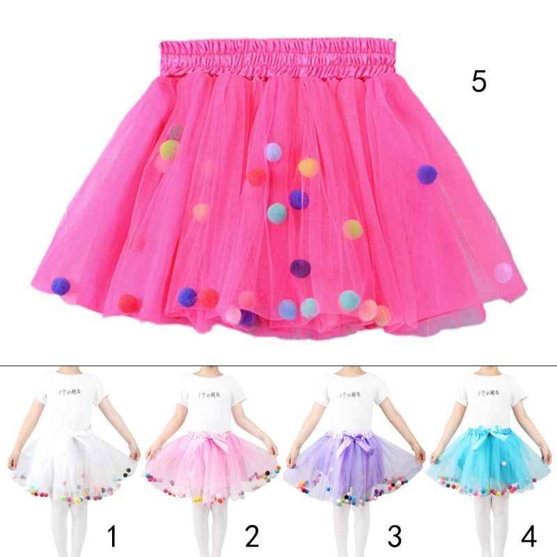 Princesa niñas Halloween cumpleaños tutú falda tres capas lindo Arco Iris pompón bolas Ballet danza satén Bowknot Pettiskirt 2-9 T