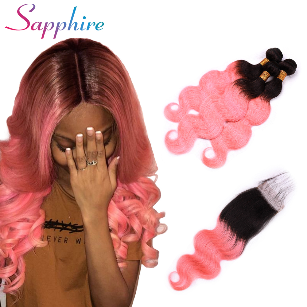 Sapphire Hair Ombre Brazilian Hair Body Wave Ombre Bundles With Closure 3 Ombre Human Hair Bundles With Free Part Closure Remy