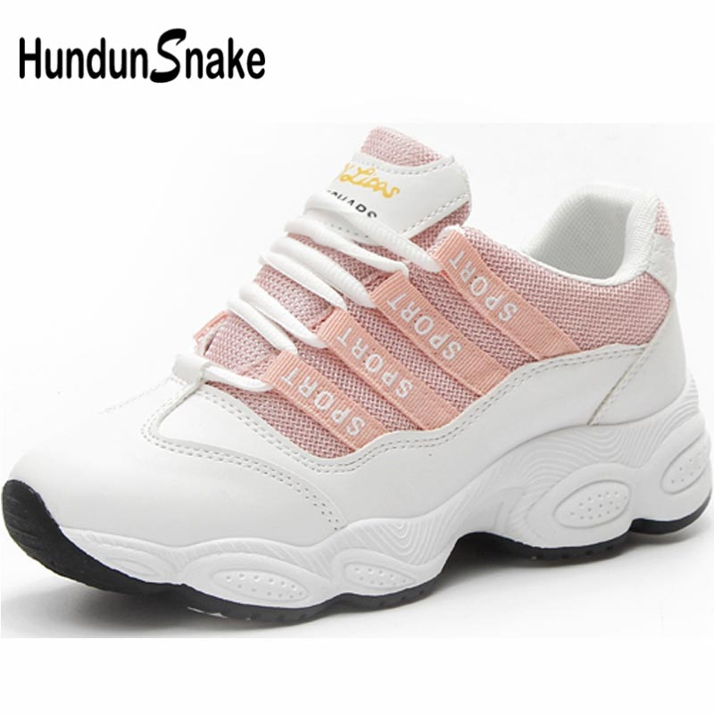 Hundunsnake Breathable Sport Shoes For Women Tennis Shoe For Women Chunky Sneakers Women's Running Shoe Sports Summer Pink A-053