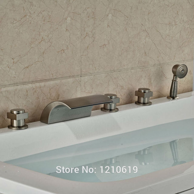 Newly Waterfall Bathtub Faucet Nickel Brushed Shower Tub Mixer Tap ...