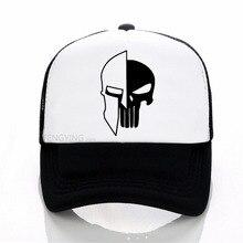 цена на Sparta Helmet Punisher Skull baseball cap Fashion Men Print mesh trucker cap Casual Unisex sports hat