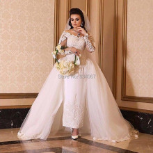 New Design Ankle Length Wedding Dress with Detachable Train & Long Sleeves