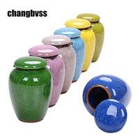 Crackled Glaze Ceramic Storage Bottle Jars Tea Box Tea Spice Sugar Jars Food Container Miniature Kitchen
