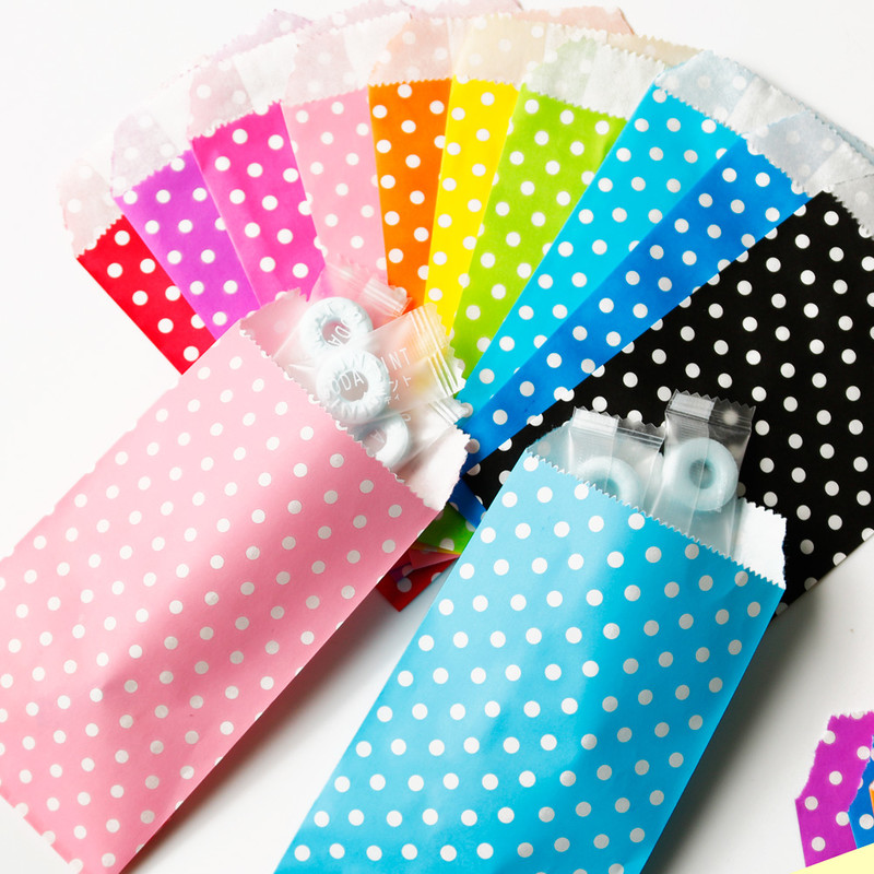 25pcs Colorful Polka Dots Paper Bags For Gifts Party Treat Bag Paper Gift Bag Candy Bag Wedding Gifts Kids Birthday Supplies
