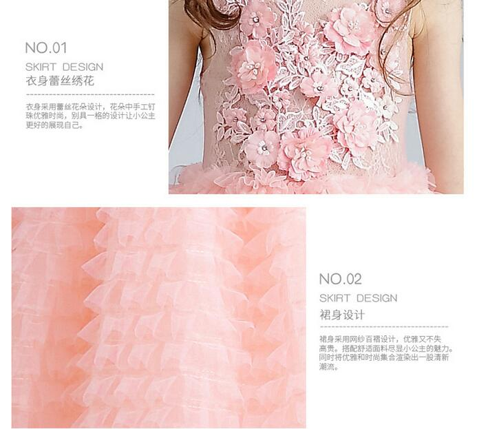 Image 4 - Luxury Pink Tulle Flower Girl Dress Kids Wedding Dress Ankle Length Appliques Bead Kids Party Prom Dress First Communion Dresses-in Dresses from Mother & Kids