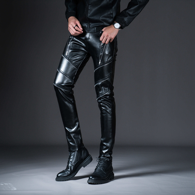 New Winter Spring Men's Skinny Leather Pants Fashion Faux Leather Trousers For Male Trouser Stage Club Wear Biker Pants 1