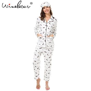 New 2019 Pajama Sets Women Dachshund Print 3 Pieces Set Long Sleeve Top + Pants Elastic Waist + Blinder Loose Homewear S74407 2