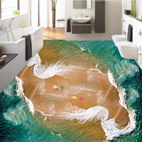 Beibehang Beautiful Sea View Beach Spray Sea Star Shell 3d Flooring 3D Dimensional Painting Personalized Wallpaper