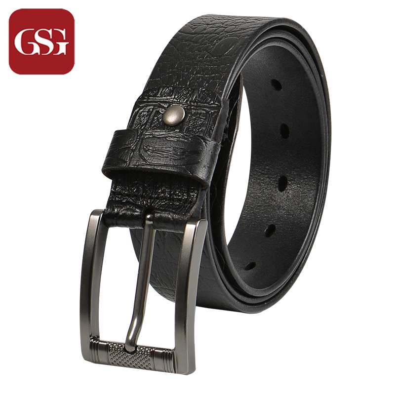 GSG Cowhide Leahter Men Belts Brown Black Embossing Printed Waist Wide Jeans Belts Pin Buckle Belts Mens Brand Belt