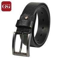GSG Cowhide Leahter Men Belts Brown Black Embossing Printed Waist Wide Jeans Belts Pin Buckle Belts Mens Brand Belt