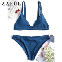 ZAFUL Cami Ladder Cut Ruched Spaghetti Strap Padded Two Piece Bathing Suit Solid Blue Swimming Suit For Women Swimwear Female