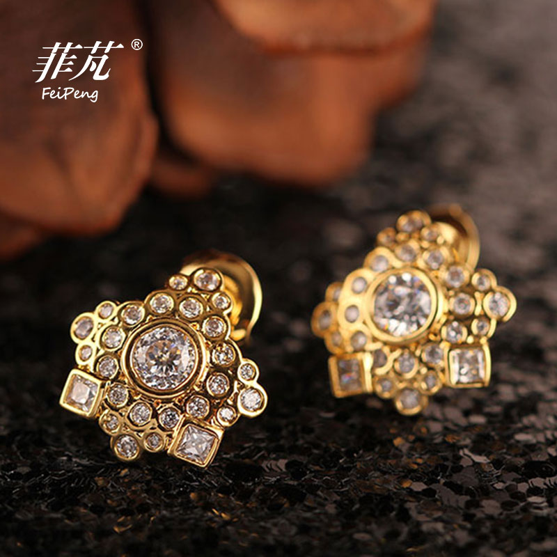 Rhinestones Shinning Individual Geometric Patterns Stud Earrings 2017 New Design With Crystal Cubic Zirconia Gifts For Women In From Jewelry