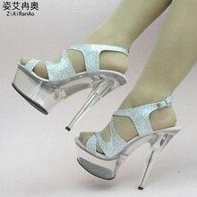 Big Size Shoes Woman Nightclub Style Sandals 1.5 CM 5 CM Transparent Platform Women Pumps Sexy Glitter Party 13 15CM High Heels
