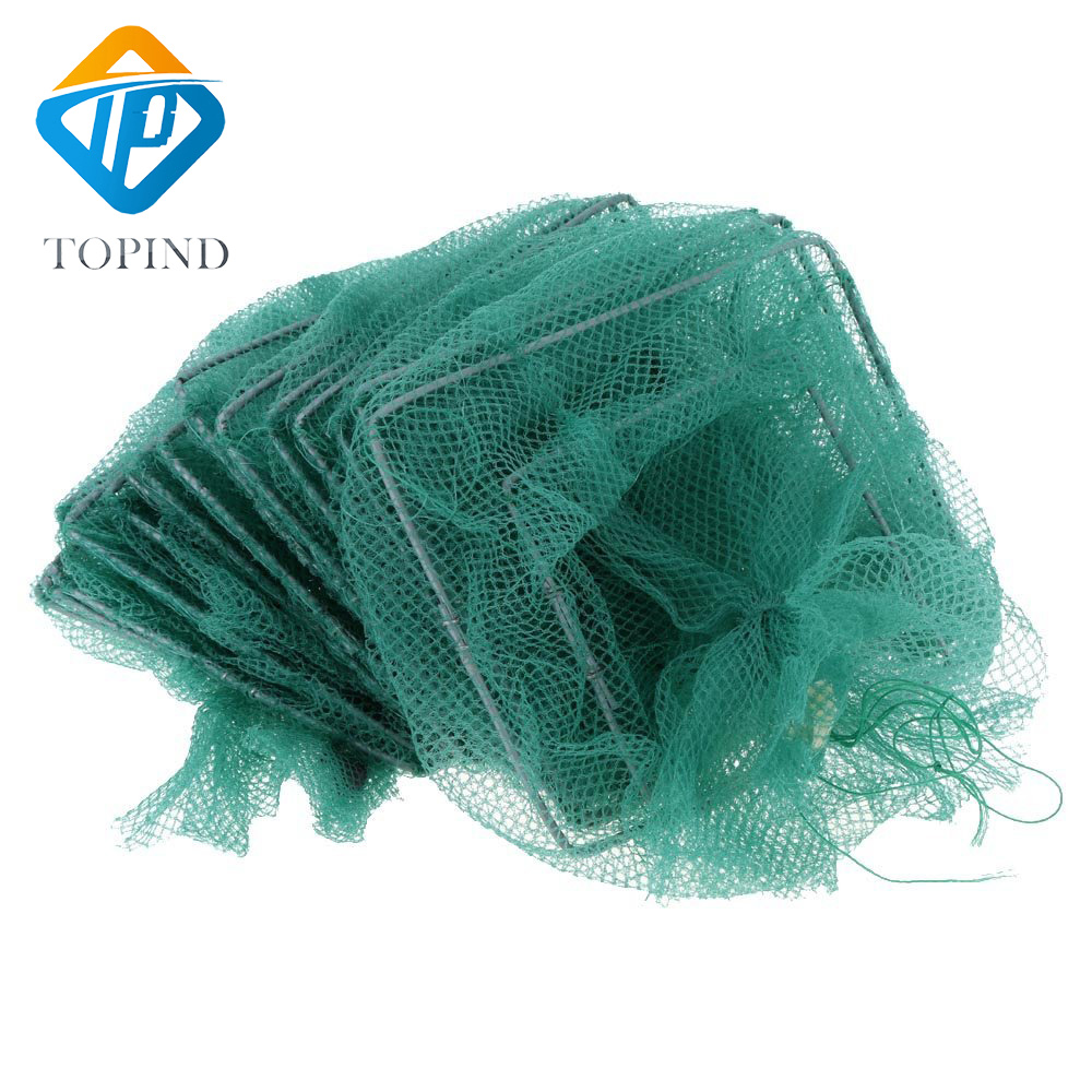500cm Foldable Nylon Crab Shrimp Minnow Fishing Cage Trap Dip Net Portable Fishing Mesh 32x24cm Tackle Accessories quality gill net h5 l95m 3layer 3 5 and 19cm mesh sink net fish trap sticky fishing net outdoor pesca reservoir fishing network