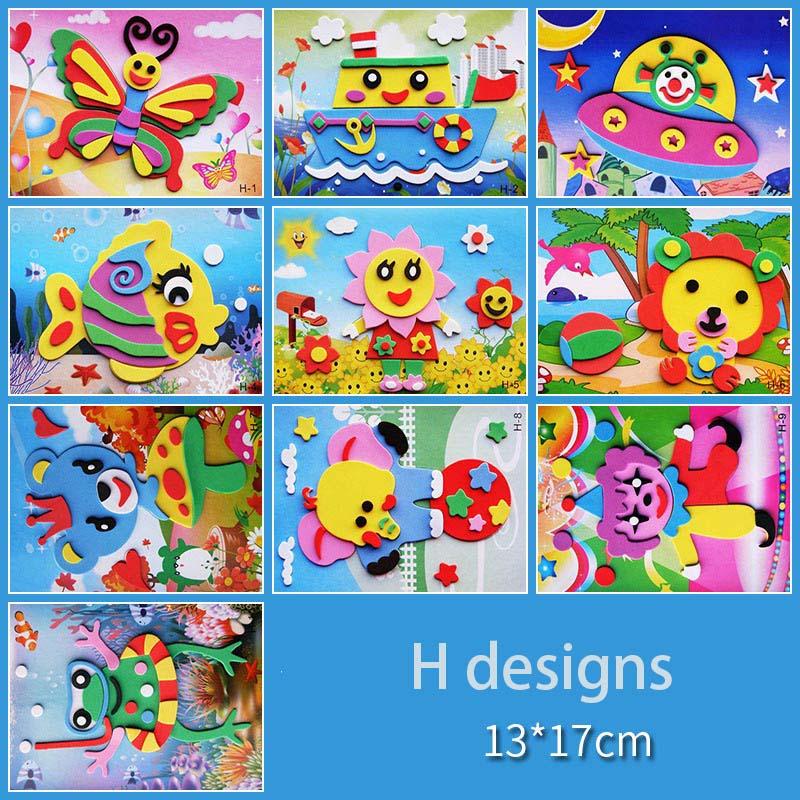 10 designs/lot DIY Cartoon 3D EVA Foam Sticker Puzzle Series Kids Multi-patterns Styles Toys for Children Birthday Gift 3