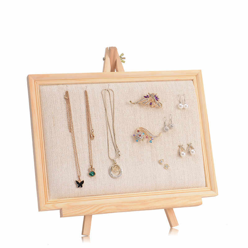 Massief Houten Ring Oorbellen Display Rack Mode-sieraden Manchetknopen Organizer Holder Case Box Showcase Ring Oorbel Sieraden Display