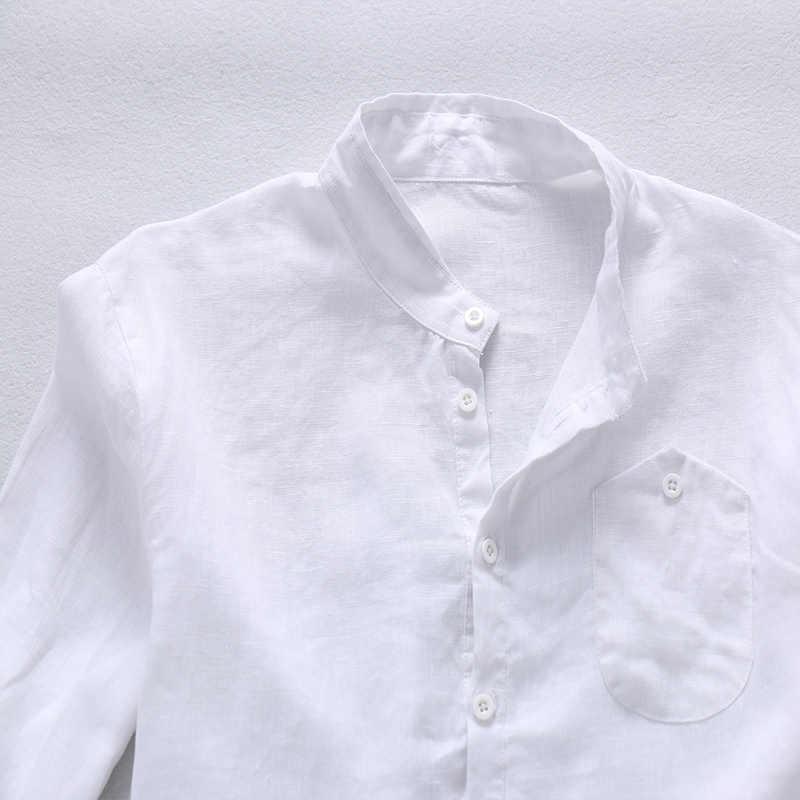 d2b22ff670a ... 2017 Весна и лето 100% льняная рубашка мужская белая мужская мода  рубашки дизайнер бренда рубашки ...