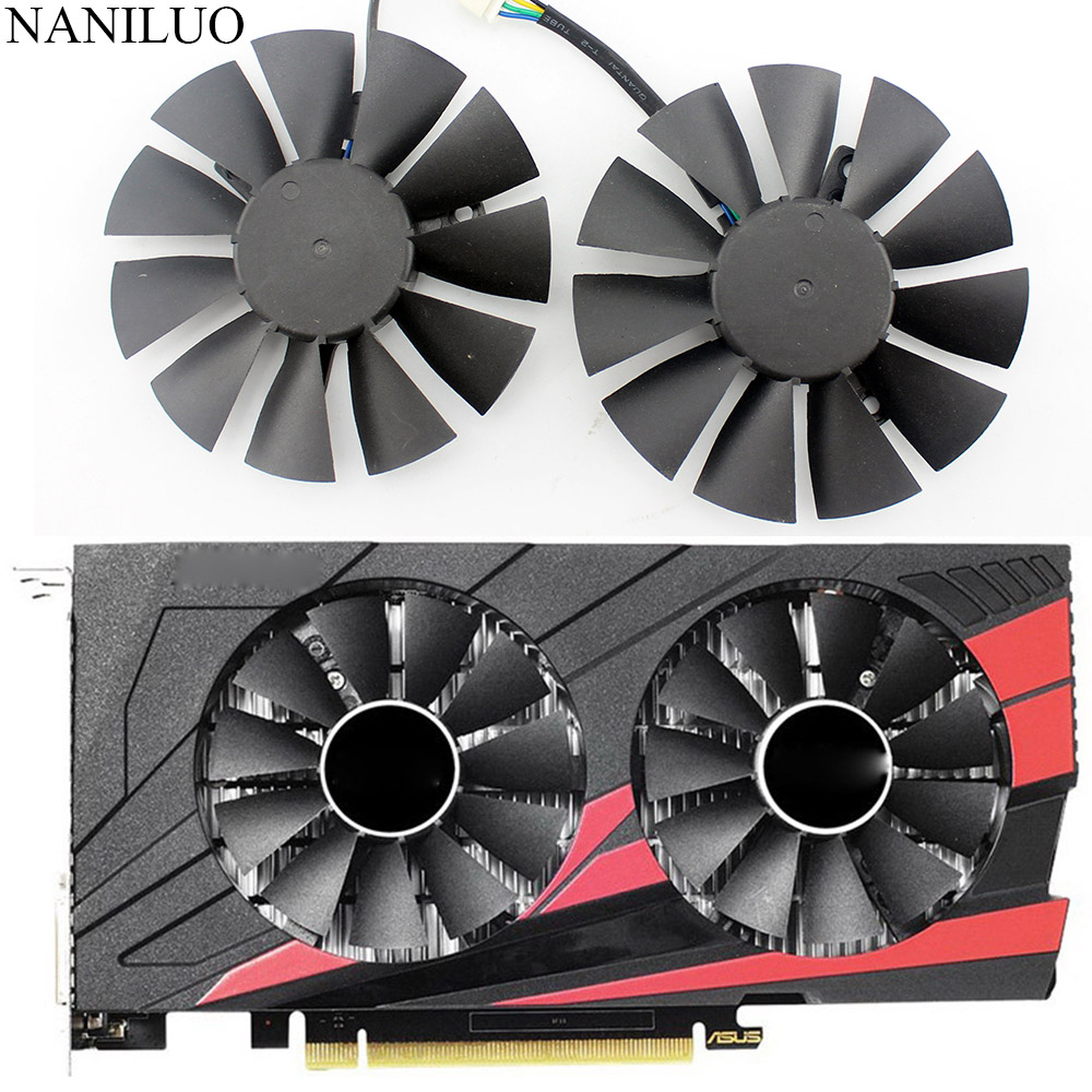 T128010BH 75mm DC 12V 0.25A Cooler fan For ASUS STRIX GTX1050 Ti GTX 1050Ti <font><b>RX</b></font> <font><b>460</b></font> RX560 Fan <font><b>Graphic</b></font> <font><b>Card</b></font> with free shipping image