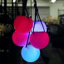 Горячие светодиодные шары многоцветные светящиеся POI брошенный мяч со светодиодом для танца живота ручной реквизит подарки