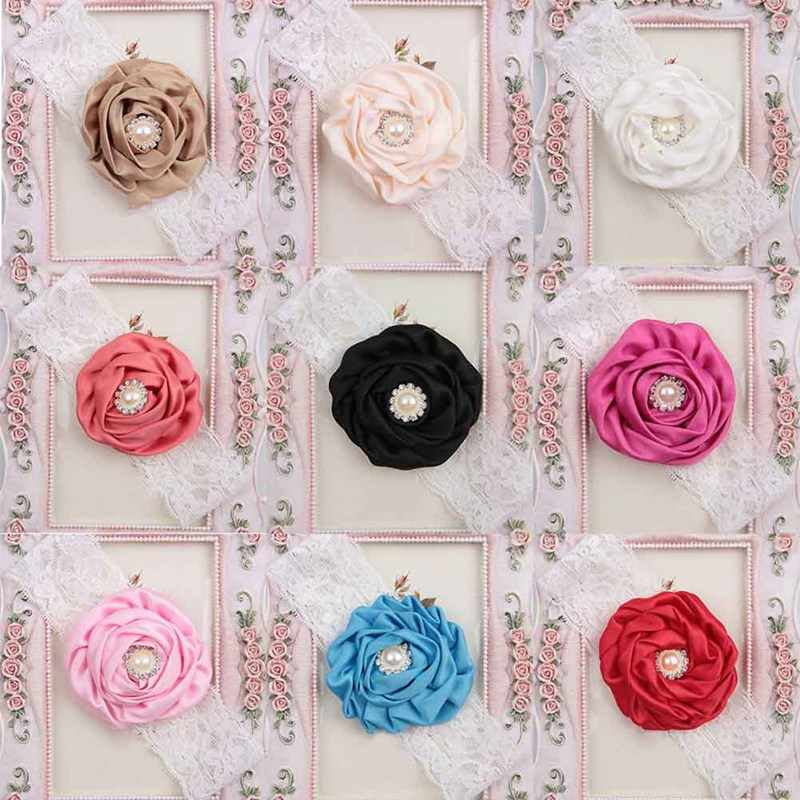 1Pcs Hot Cute Multicolor Baby Girl Head Band Lace Imitated Pearl Flower Set Drill Princess Headband Accessories