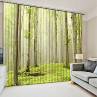 Green Forest 3D Window Curtains For Bedding Room Forest Curtain Window Room Home Decoration