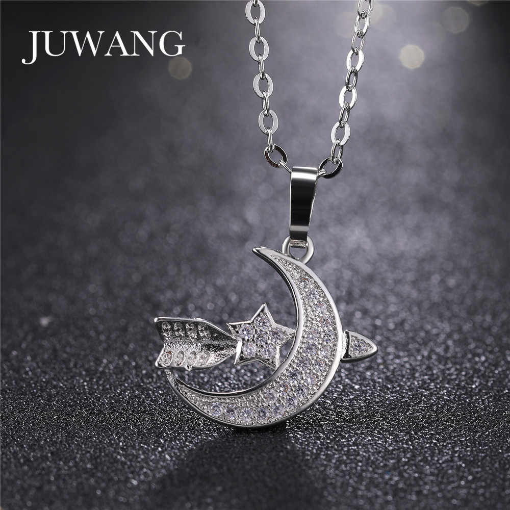 JUWANG Wholesale Muslim Islamic Pendant Necklace for Woman Man Silver Gold Color Allah Crescent Charms Islam Jewelry Gift