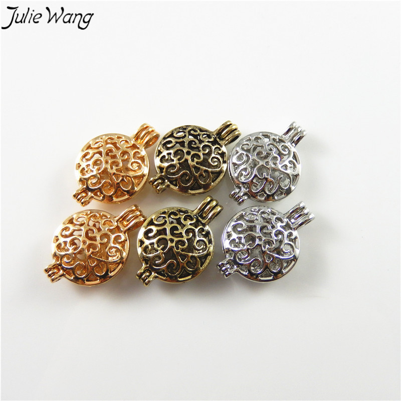JulieWang 3PC Gold Bronze Silver Color Cage Locket Zinc Alloy Openable Wish Pendant Charm DIY Neklace Finding 17*25mm Inner 14mm
