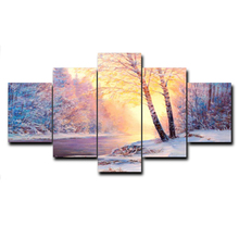 Laeacco Winter Snow River Landscape 5 Pieces/Set Art Oil Painting Canvas Fabric Prints For Bed Living Room Wall Home Decor Photo