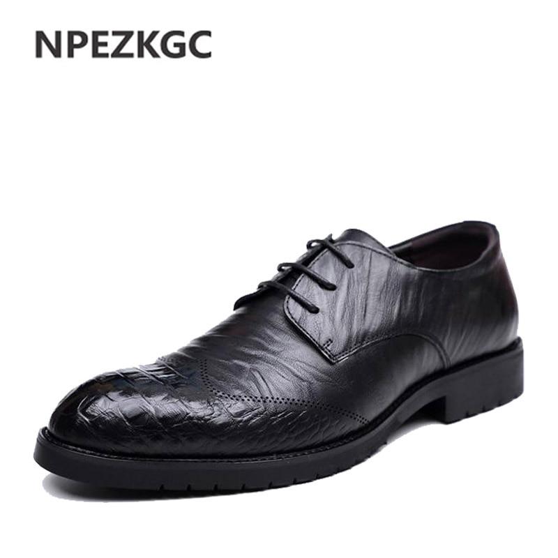 NPEZKGC Men s Business dress shoes England Style New Breathable Lace up Shoes flat leather shoes