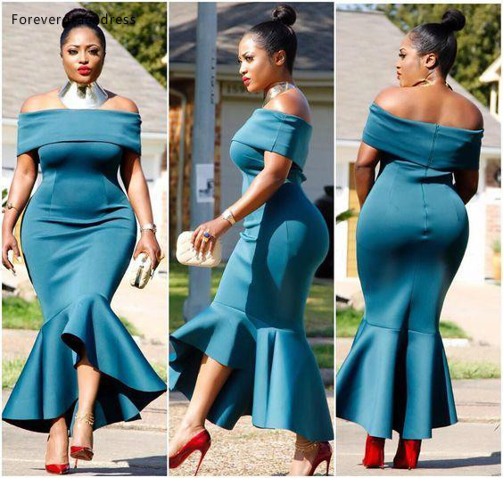 Cheap African   Cocktail     Dress   Simple Off Shoulder Backless Tea Length Formal Wear Evening Prom Party Gown Plus Size Custom Made