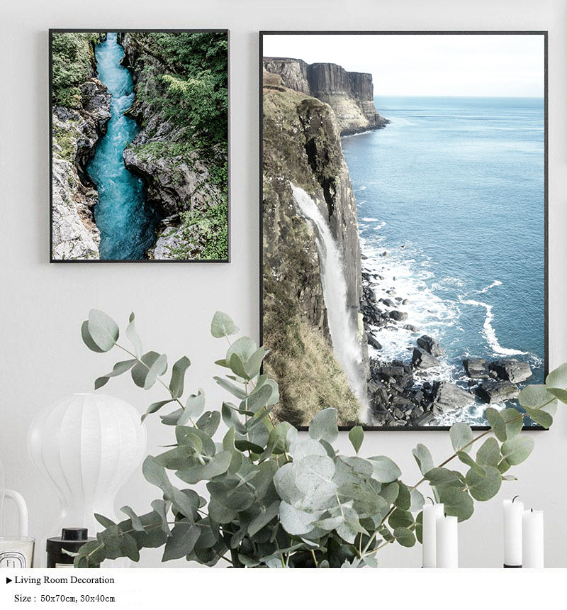 HTB12mqfelKw3KVjSZTEq6AuRpXa2 Mountain Lake Waterfall Picture Scandinavian Poster Nordic Style Print Nature Scenery Wall Art Canvas Painting Modern Room Decor