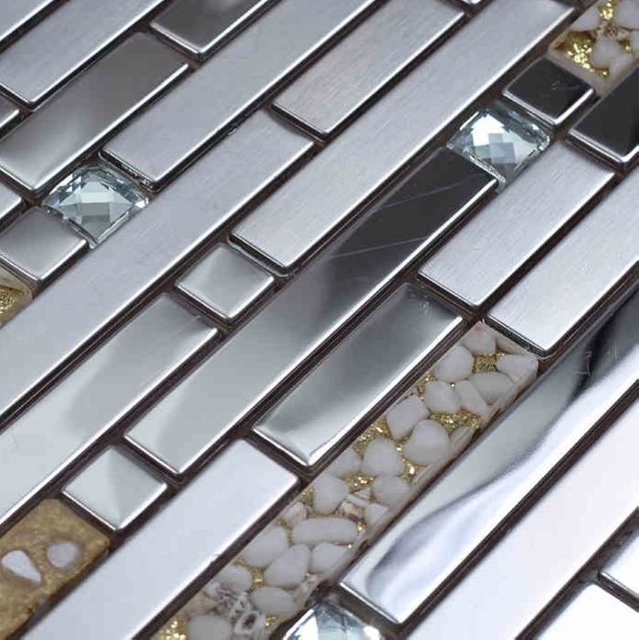strip silver metal mixed sea shell resin glass mixed diamond mosaic kitchen backsplash tile bathroom shower tile hallway border