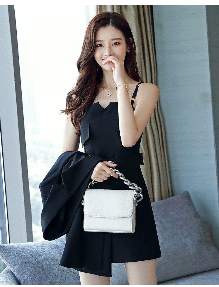 Autumn Business Suit Elegant Office Dress Lady Work 2 Pieces Set Long Sleeve Blazer and Sleeveless Dress Suit Set 32