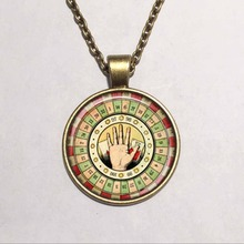 Fashion circus physic tarot card reader,Fortune teller,palm reader glass cabochon necklace