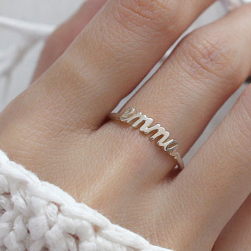 ALI shop ...  ... 32806395853 ... 5 ... Free Size Gold Silver Stackable Custom Personalized Name Ring For Women Best Friends Wedding Stainless Steel Christmas Gifts ...