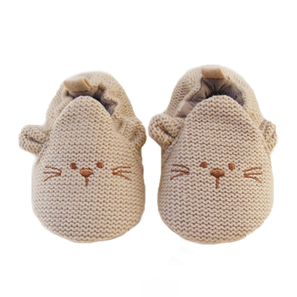 소녀 소년을위한 브랜드 아기 신발 귀여운 만화 동물 크로 셰 뜨개질 마우스 신생아 유아 슬리퍼 니트 가죽 단독 유아용 신발