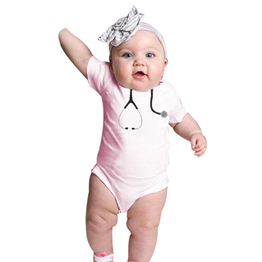 2018 fashion baby bodysuit printed kids baby girl short sleeve cotton little doctors tool bodysuit sunsuit infantil menina 0-12M