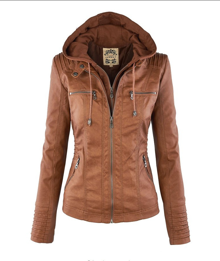 2016 New   Leather     Suede   Jacket Women Spring Autumn Zipper Jacket Tops Coat European Removable Hooded Short Outerwear